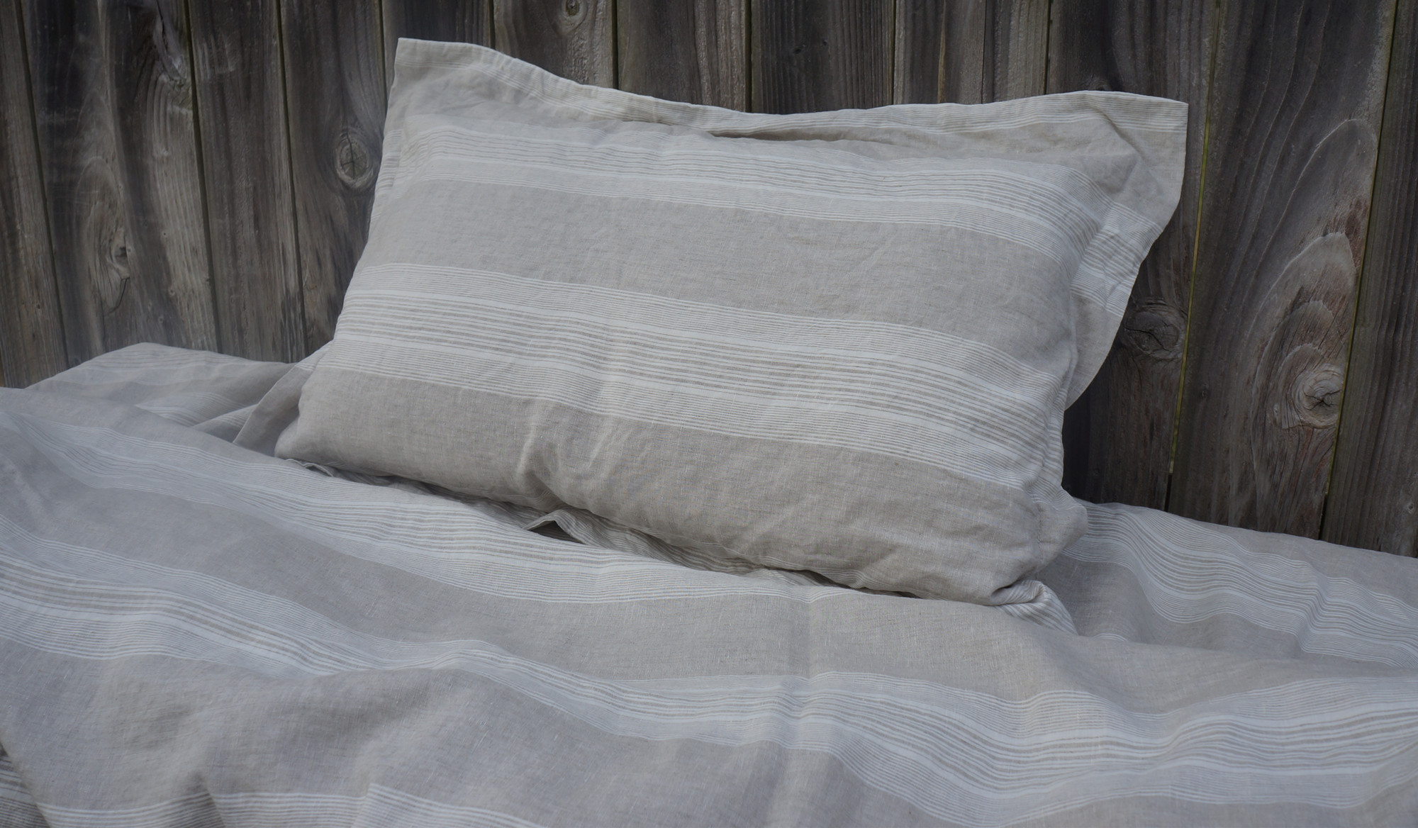Striped Duvet Cover Handmade In Natural Linen Superior