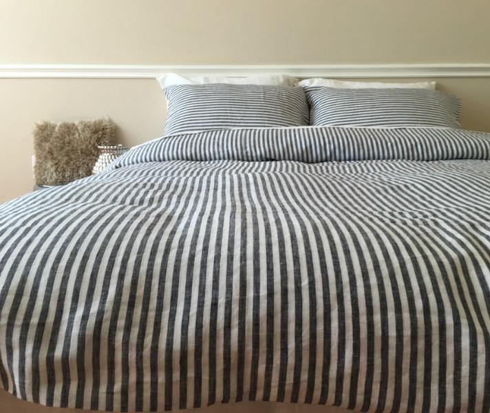 Striped Duvet Cover Handmade In Natural Linen Superior