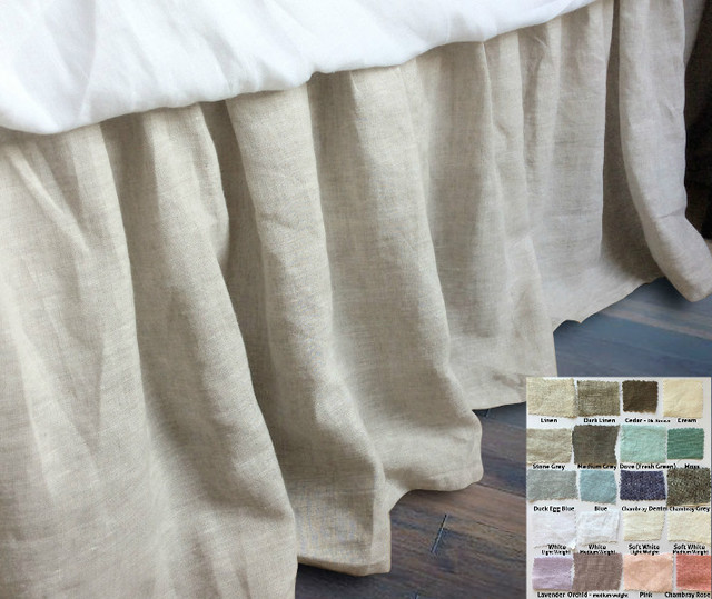 Linen Gathered Bed Skirt 40 Fabric Choices Custom Drop