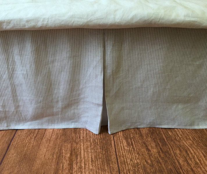 Tailored Bed Skirt 15 24 Quot Drop Natural Linen White