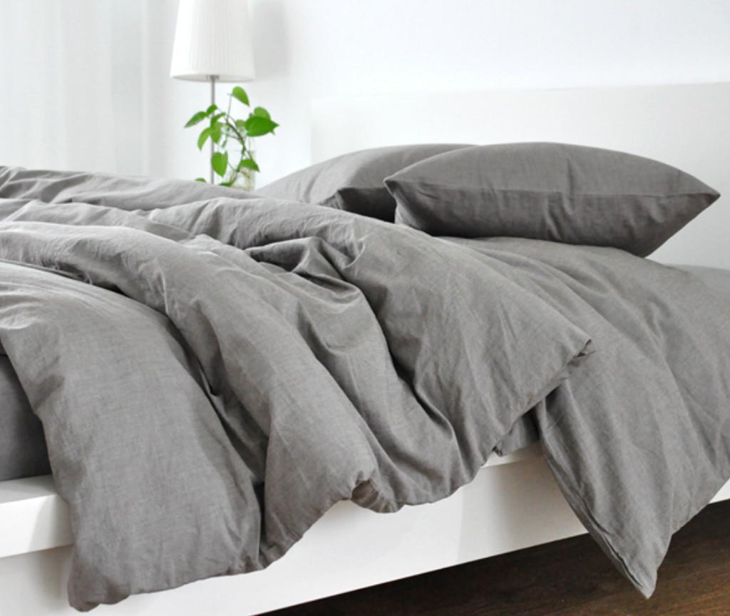 Grey Duvet Cover Natural Linen Custom Size Queen King