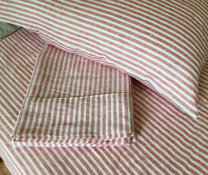 Red Ticking Stripe Sheets Set 100 Linen Handcrafted By