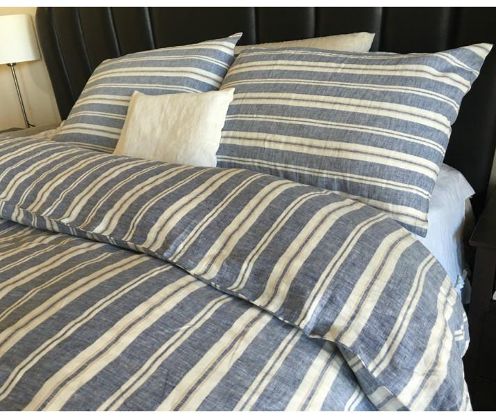 Nautical Striped Duvet Cover Handmade In Natural Linen