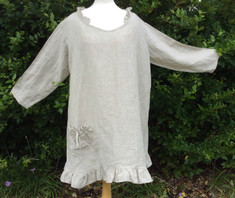 Rench Blue Linen Tunic Dress Handmade By Superior Custom