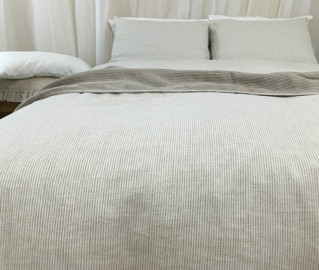 Classic Ticking Stripe Duvet Cover Handcrafted By