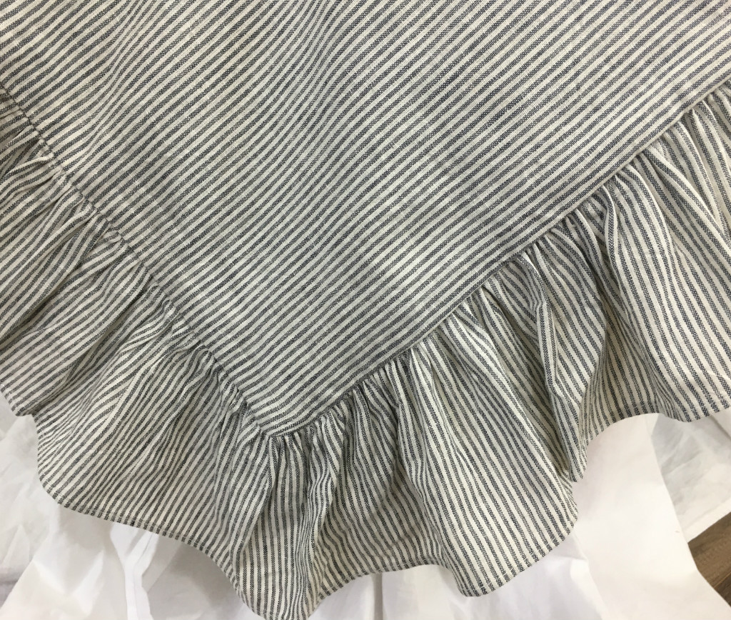 Black And White Ticking Striped Ruffle Bedding