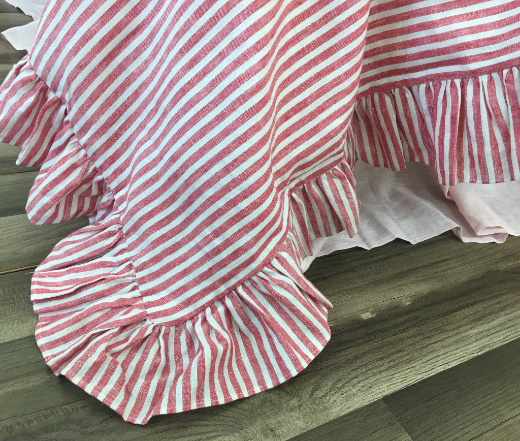 Red And White Striped Ruffle Duvet Cover