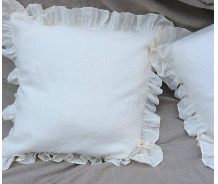 White Ruffled Pillow Covers Handcrafted By