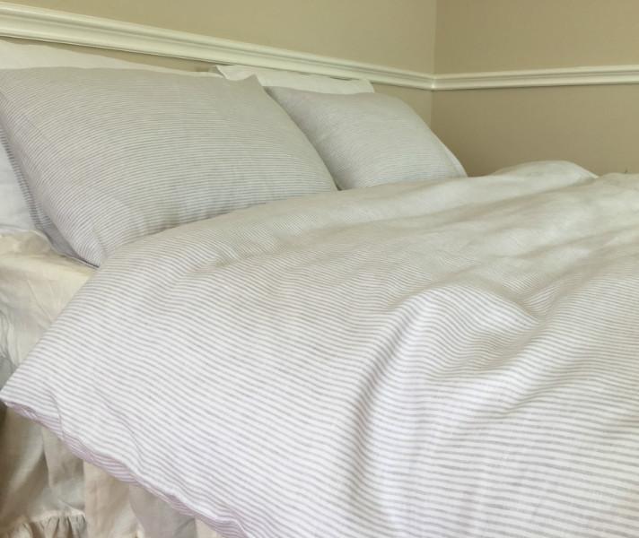 White Striped Duvet Cover Pinstripe