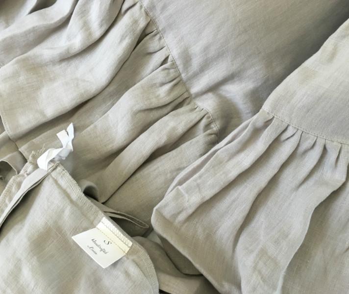 Stone Grey Mermaid Long Ruffle Duvet Cover Handcrafted