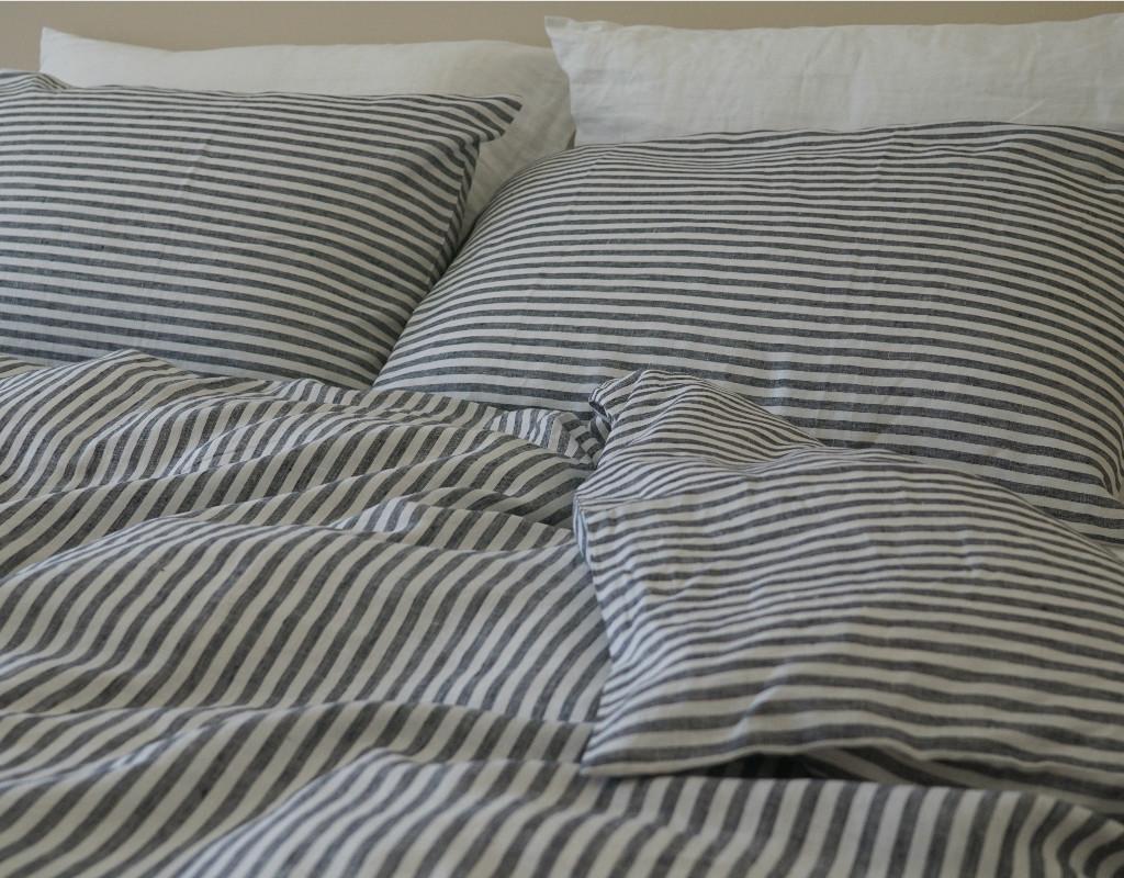 Navy And White Striped Duvet Cover Natural Linen Custom