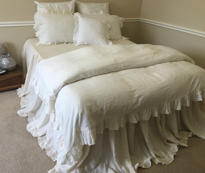White Ruffle Duvet Cover Queen Full Twin Xl King