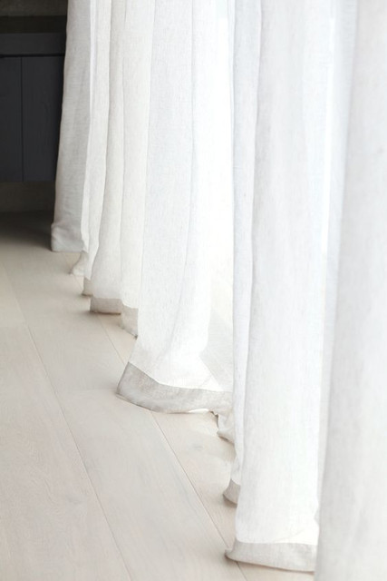 Natural Linen Sheer Curtains In White White Sheer