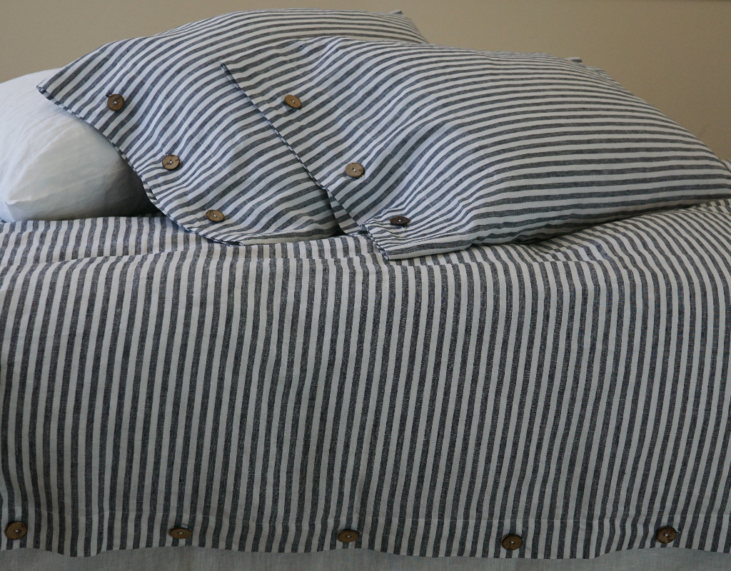 Navy And White Striped Duvet Cover Button Closure