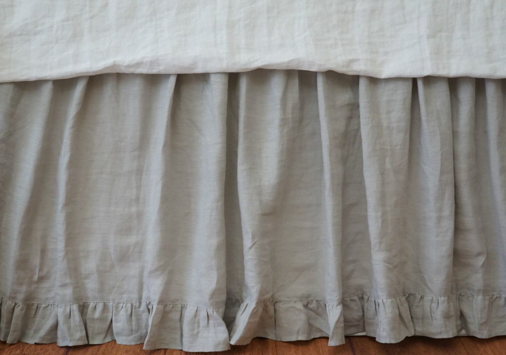 Stone Grey Gathered Bed Skirt With Ruffle Hem