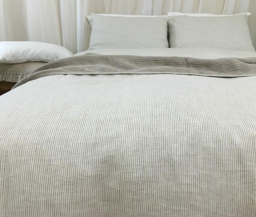 Natural Linen Striped Duvet Cover Over 16 Stripe Patterns