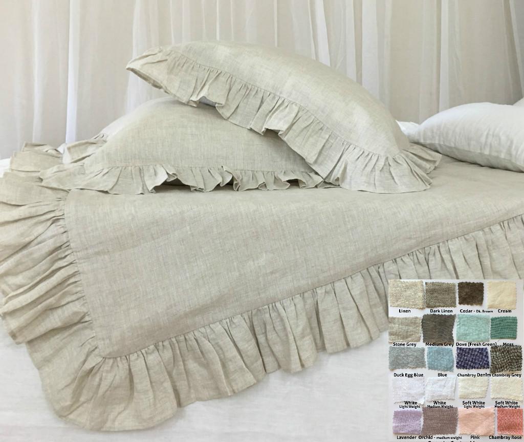 Ruffle Duvet Cover Natural Linen 40 Colors Patterns