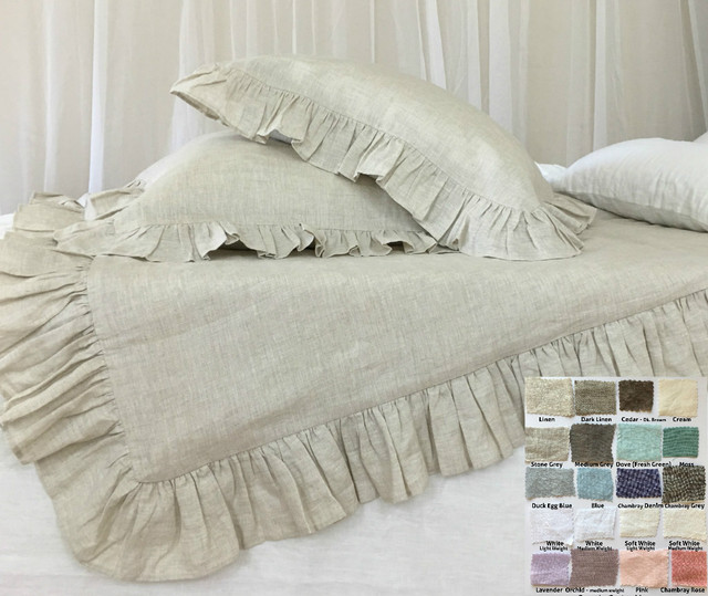 Ruffle Duvet Cover Natural Linen 40 Colors Patterns