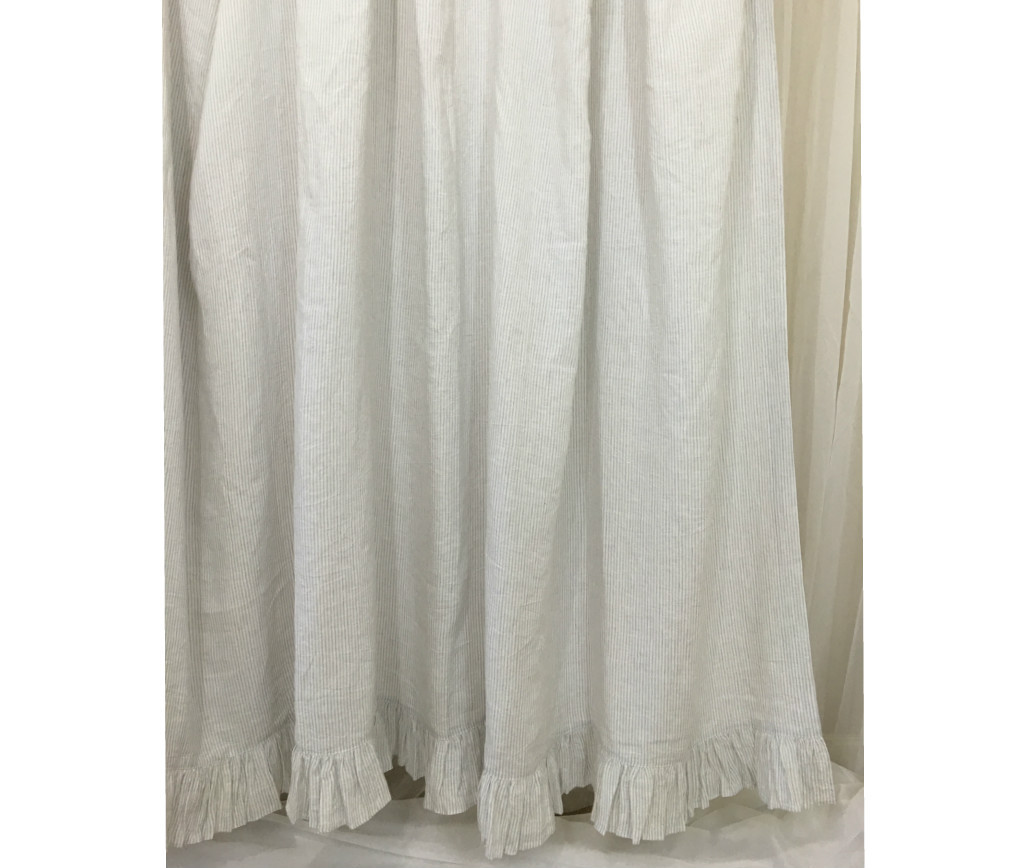 linen shower curtain with ruffle hem white gray blue pink stripe chevron over 40 colors. Black Bedroom Furniture Sets. Home Design Ideas