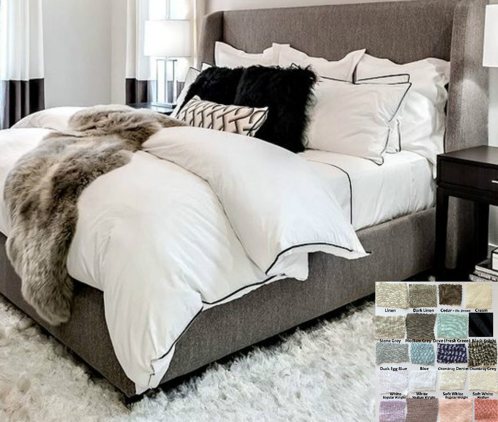 Linen Duvet Cover With Piping Finish Multiple Colors White