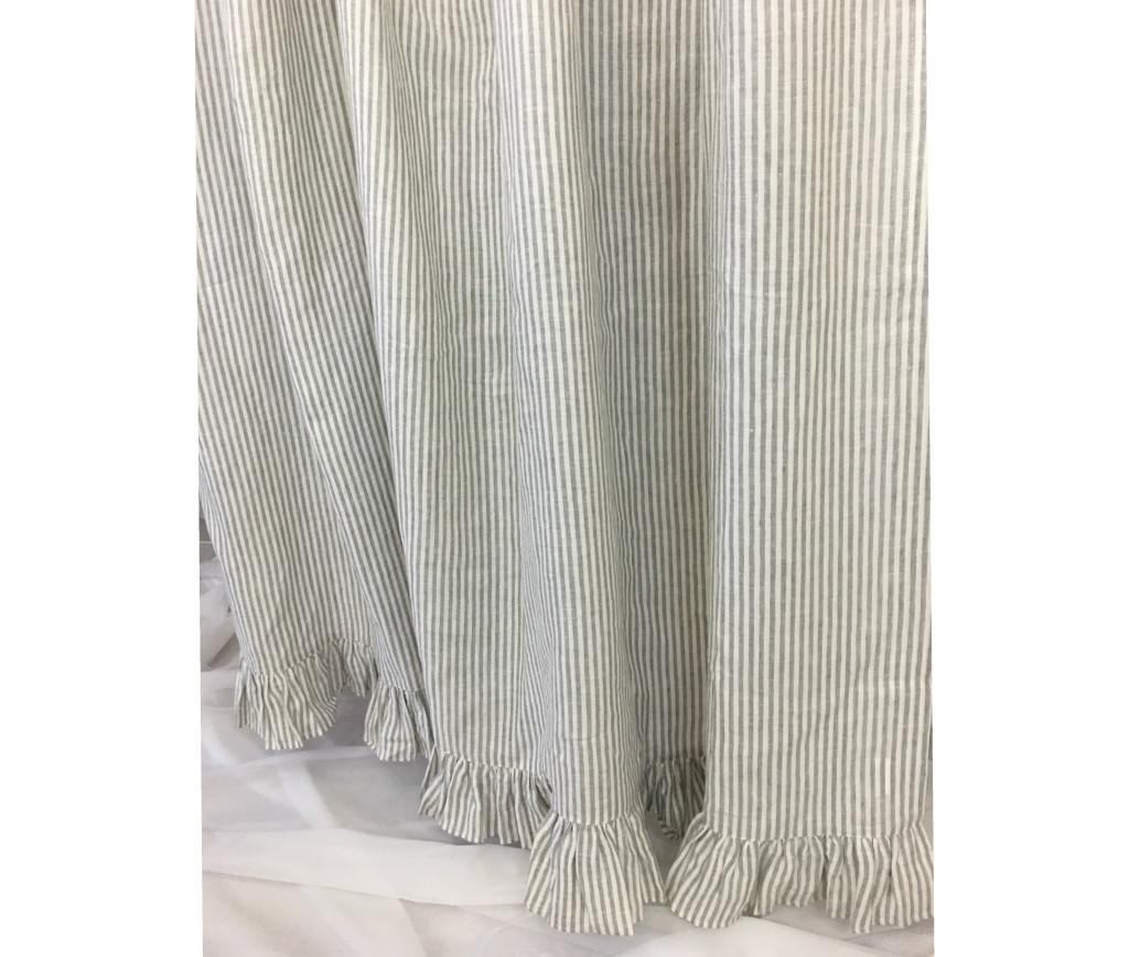 Grey White Striped Curtains: Grey Stripe Linen Shower Curtain Features Ruffle Hem