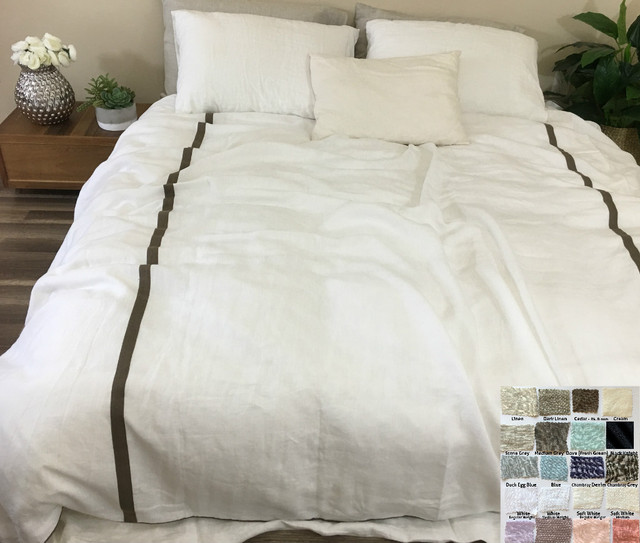 Linen Duvet Cover With Piping Finish And Stripes White