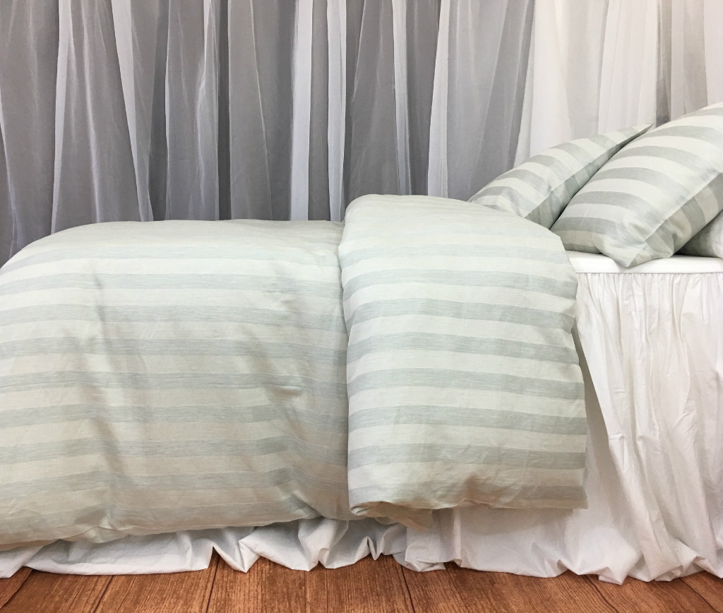 Green And White Striped Duvet Cover