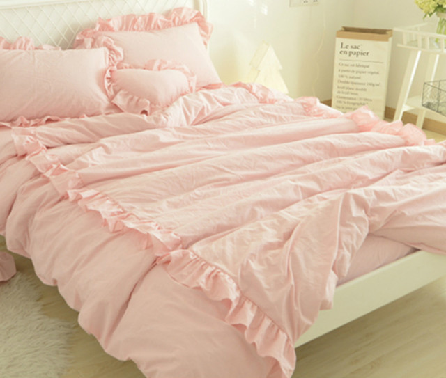 Blush Pink Duvet Cover With 2 Rows Of Ruffles Stunning Style