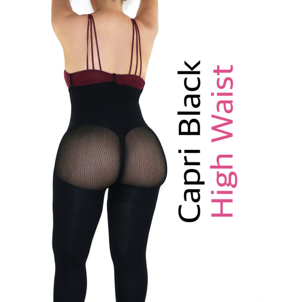 Capri Happy Butt No.7 - Double Layer Waistband Body Shaper Black
