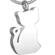 Cat Silhouette Stainless Steel Memorial Pendant