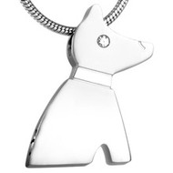 Dog Silhouette Stainless Steel Memorial Pendant