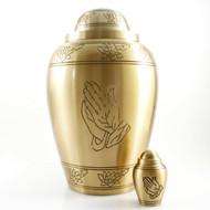 Praying Hands Bronze Urn