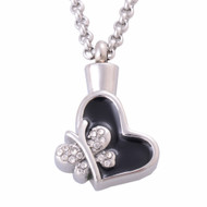 Butterfly Heart Memorial Pendant