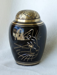 Elegant Gold and Black Dome Cat Pet Urn