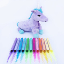 Unicorn Pencil Case & Magic Waxi‰ Neon Gel Crayon 12 Pack (Combo)