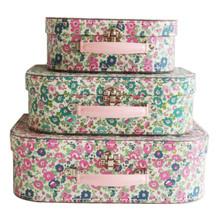 Alimrose Suitcase Set - Petit Floral Teal Pink