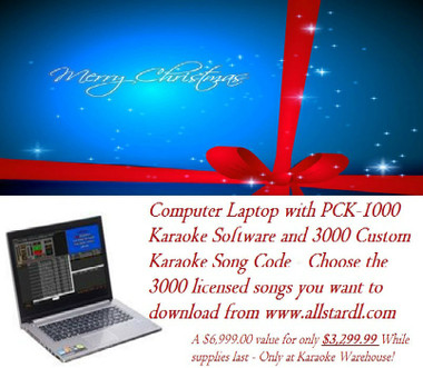 Computer with Karaoke Software and 3000 Custom Karaoke Song Code so you can choose the licensed karaoke songs you want from All Star Custom. Karaoke Warehouse - Where Christmas is celebrated all year round!