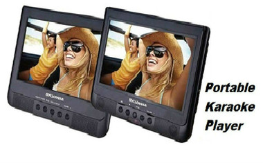 "Versatile 10"" Dual Screen Rechargeable Portable Karaoke Player on the Go!"