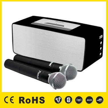 KBZ 7352 Black Rechargeable Bluetooth Speaker with two (2) Professional Wireless Microphones