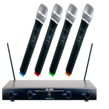 VHF 4-Channel Professional Quality Wireless Microphone System