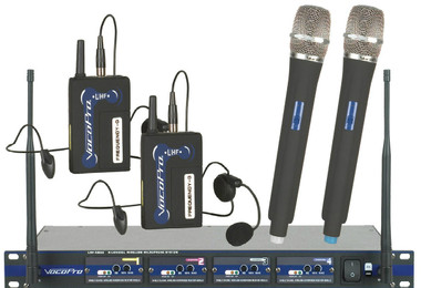 VocoPro's introduces 4-channel UHF wireless mic system. With 2 handheld mics and 2 bodypack headset mics, each on their own independent UHF channel, the UHF-5800 gives you maximized vocal options without the fear of frequency interference.