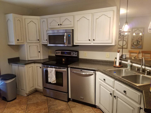 Updated Cabinets with Drop Cloth