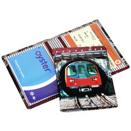 Printed Leather Oyster card Holder - 'Tunnel'