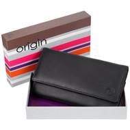 Mala Leather Origin Purse with RFID Shielding: 3272 Black Box