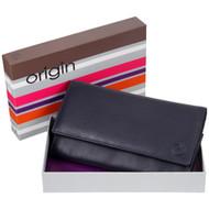Mala Leather Origin Purse with RFID Shielding: 3272 Navy Box