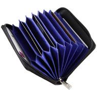 Mala Leather 'Origin' RFID Blocking Concertina Card Holder - 552 Black : Open1