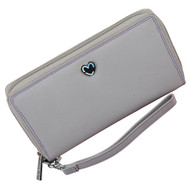 Zip Around Purse RFID Protection Mala Leather Tabitha 3276 Gray: Front