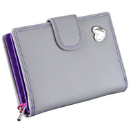 Waller Purse with RFID Protection Tabitha by Mala Leather 3188 Grey: Front
