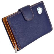 Waller Purse with RFID Protection Tabitha by Mala Leather 3188 Navy: Front