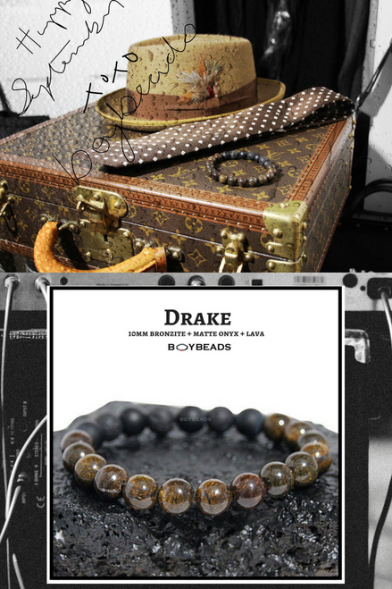 """Drake"" BOYBEADS 10mm bronzite onyx lava handmade beaded bracelet for guys"